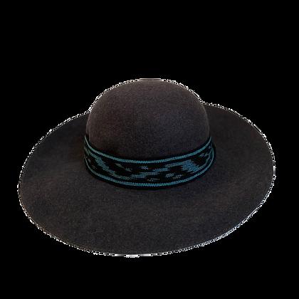 Sombrero lady lana ikat azulino