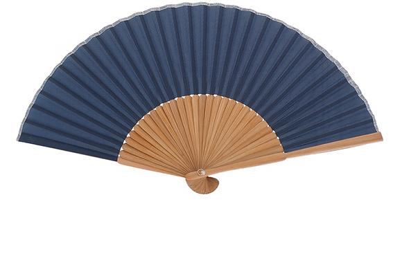 Abanico bambú azul