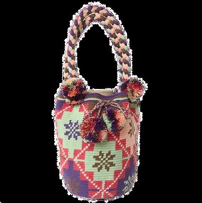 Cartera Wayuu Colombiano   Pompones rosa