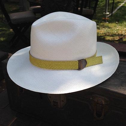 Panama Hat Blanco - cinta cuero de salmón