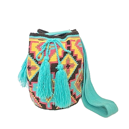 Bolso Wayuu Colombiano | Diseño turquesa