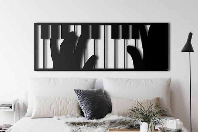 Панно металлическое Пианино пианист