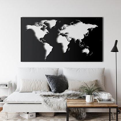 Панно металлическое Карта мира