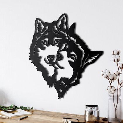 Панно металлическое Волк с волчицей