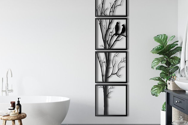 Панно металлическое Дерево с птицами