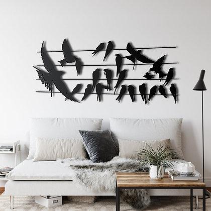 Панно металлическое Птицы на проводе