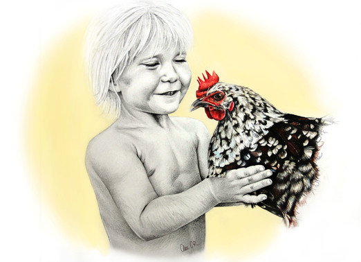 KID WITH HEN