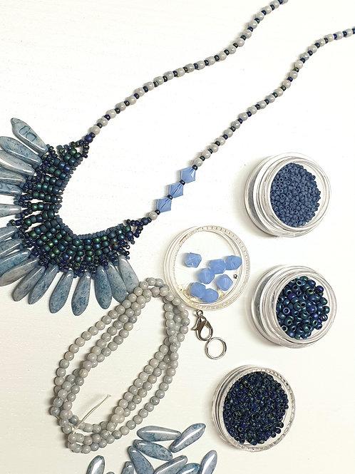 ערכה להכנת שרשרת פרנזים צבע כחול