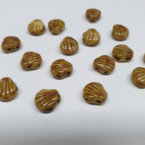 חרוז Shell Douo צדף עם שני חורים צבע חום חרדל מלוכלך