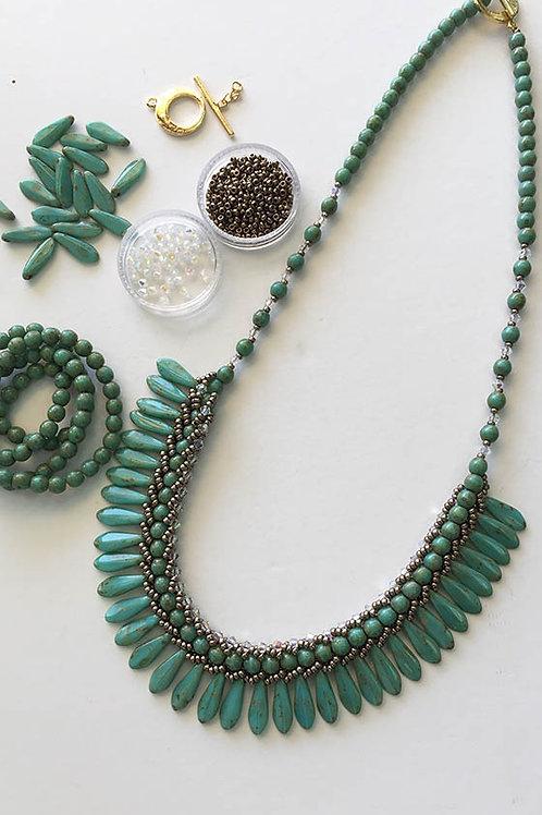 ערכה להכנת שרשרת שיבולים בשילוב חרוזי חרב- צבע טורקיז