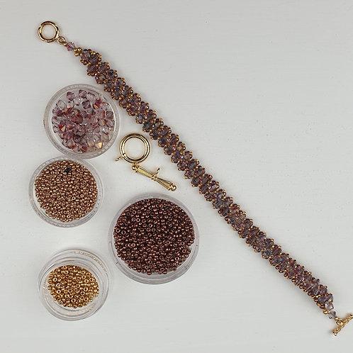 ערכה להכנת צמיד טניס סברובסקי צבע סגול זהב