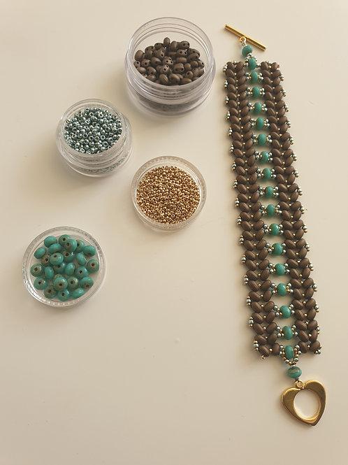 ערכה להכנת צמיד טווין רחב- מחרוזי מיוקי 15 וחרוזי קריסטל צ'כי צבע טורקיז ברונזה