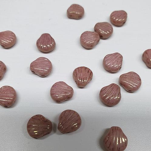 חרוז Shell Douo צדף עם שני חורים צבע ורוד סגול