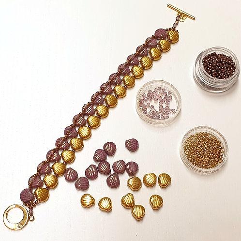 ערכה להכנת צמיד Shell Douo 2 צבעים- צבע סגול זהב