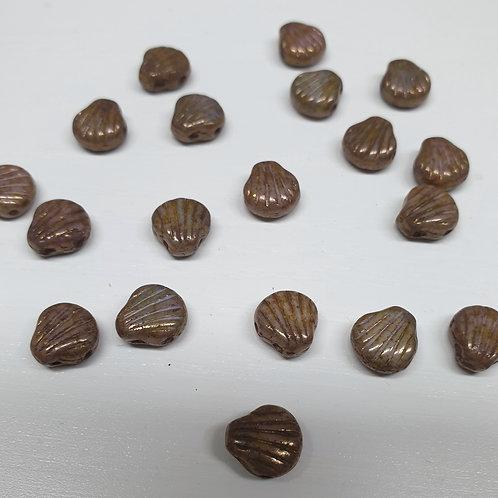 חרוז Shell Douo צדף עם שני חורים צבע חום בהיר