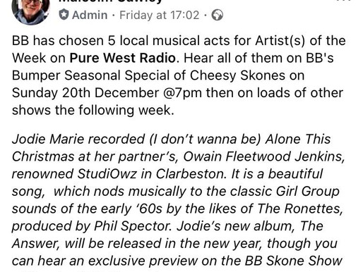 '(I Don't Wanna Be Alone) This Christmas' play on BB Skone's Pure West Radio!