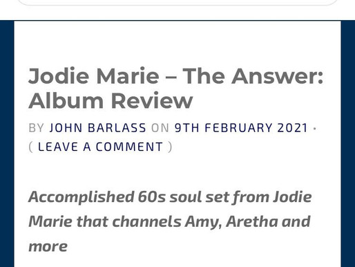At The Barrier Review of Jodie Marie's new album, 'The Answer' - out Friday 12th February 2021!!!