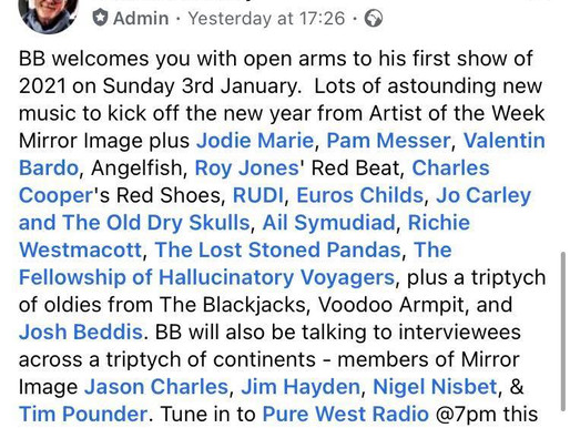 Jodie Marie Radio Play on BB Skone's Show - Pure West Radio!