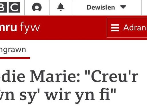 Jodie Marie erthygl mewn Cymru Fyw gan Garry Owen // Jodie Marie article in Cymru Fyw by Garry Owen.