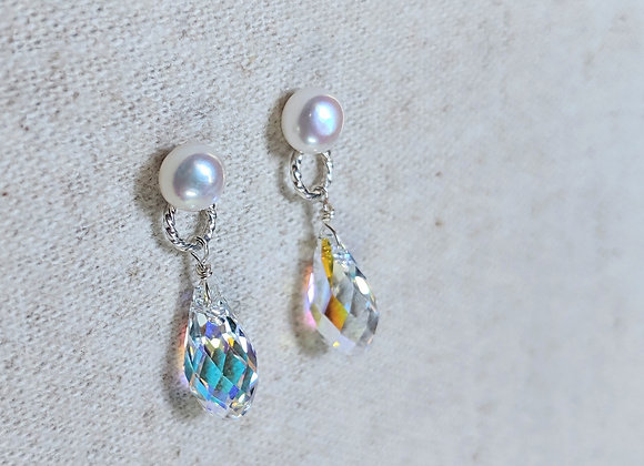 White button pearl with Swarovski crystal AB color tear drop earring