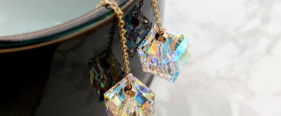 Austrian crystal comet argent light cube put through earring