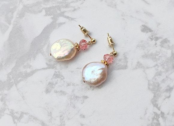 Perfume stud earring with multi color keshi pearls