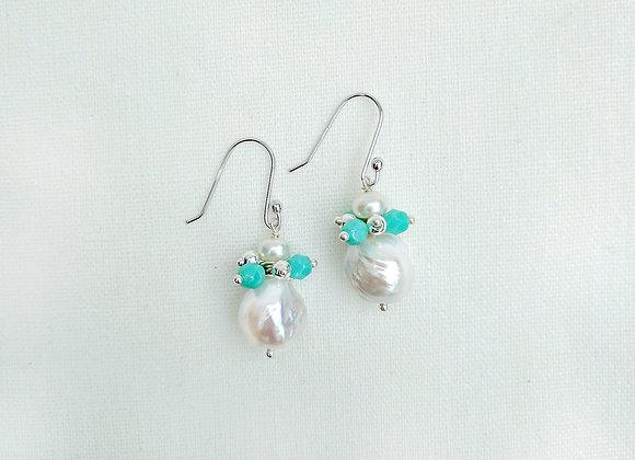 Earth Breath - Baroque freshwater pearl bud shape earrings