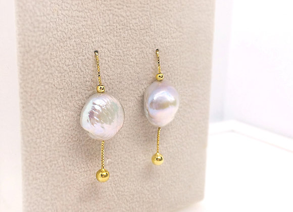 Golden drop put through earring with multi-color baroque pearl