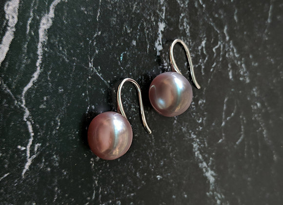 Classic style Silver Purple Button Pearl Earring
