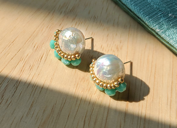 Beaded ear candy earring with Baroque pearl