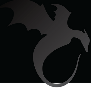 dragon silhouette brand image for April C. Royer and the fantasy book The Caretaker