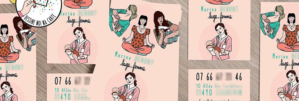 """CARTE DE VISITE SAGE-FEMME - """"WOMENS"""""""