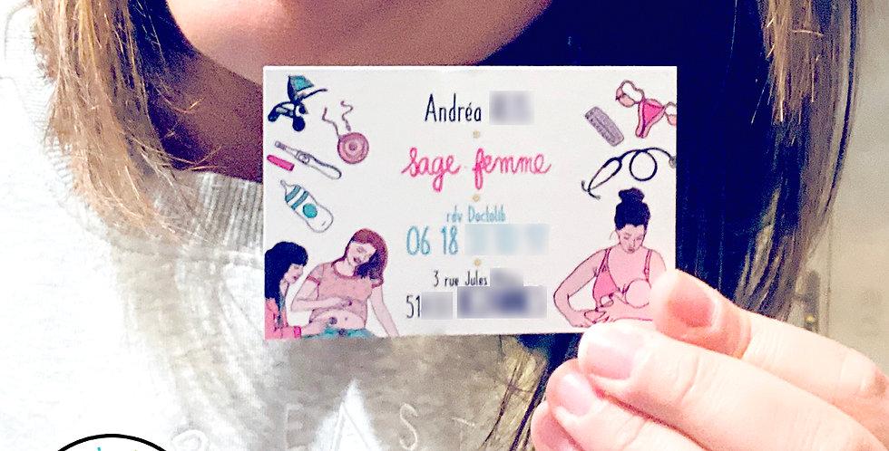 """CARTE DE VISITE SAGE-FEMME - """"MOTIFS"""""""