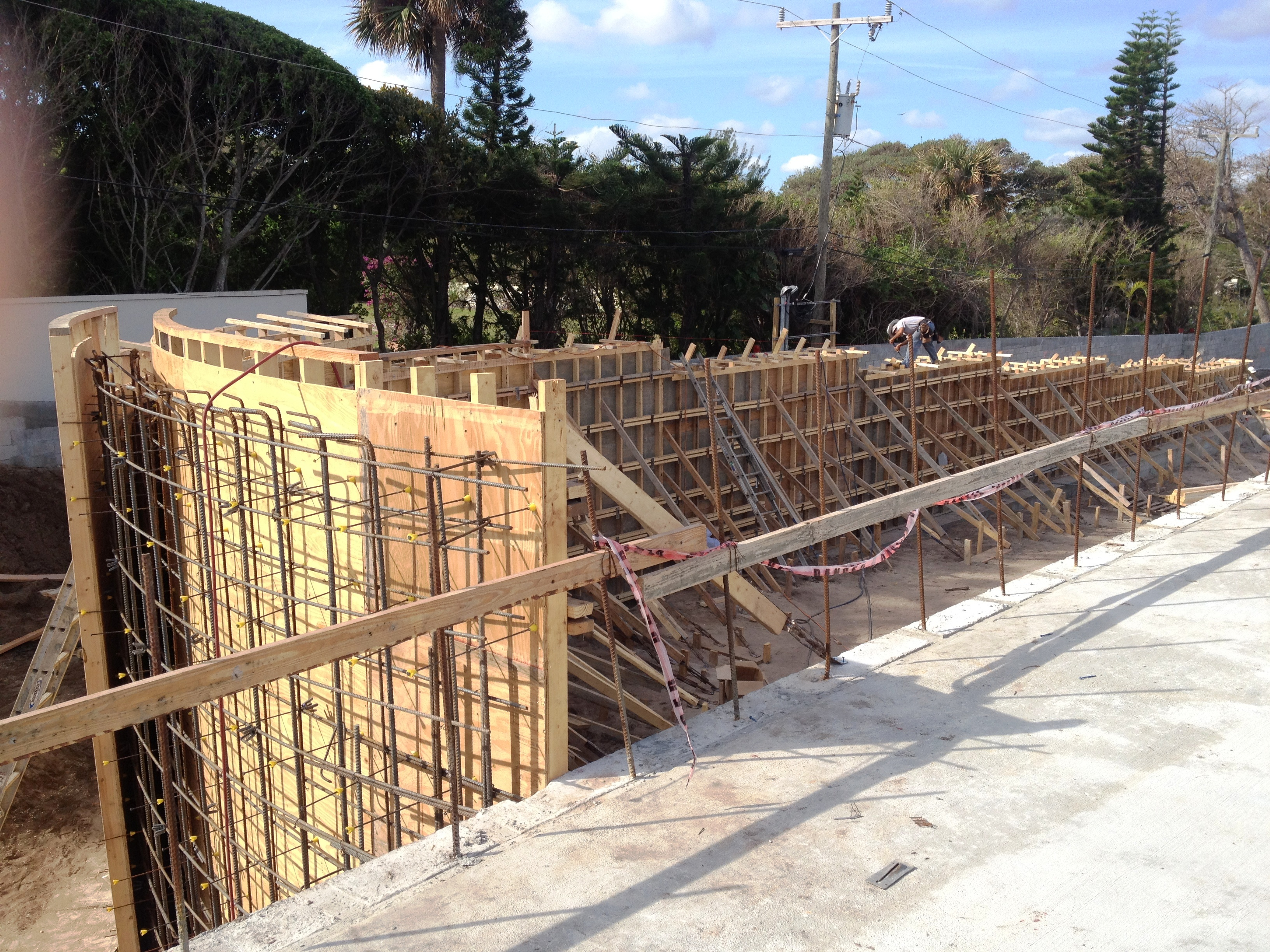 Radius  Cast in Place Retaining Wall Form work in Progress