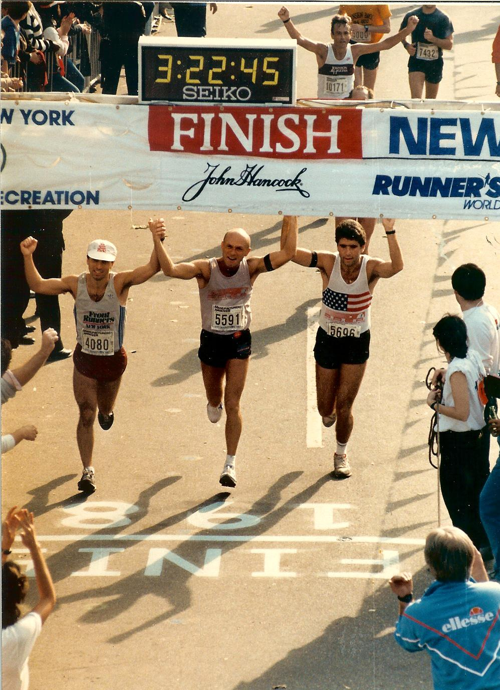 AREA Finish  New York City Marathon 1987 (Dave M, Brent, Dave W)