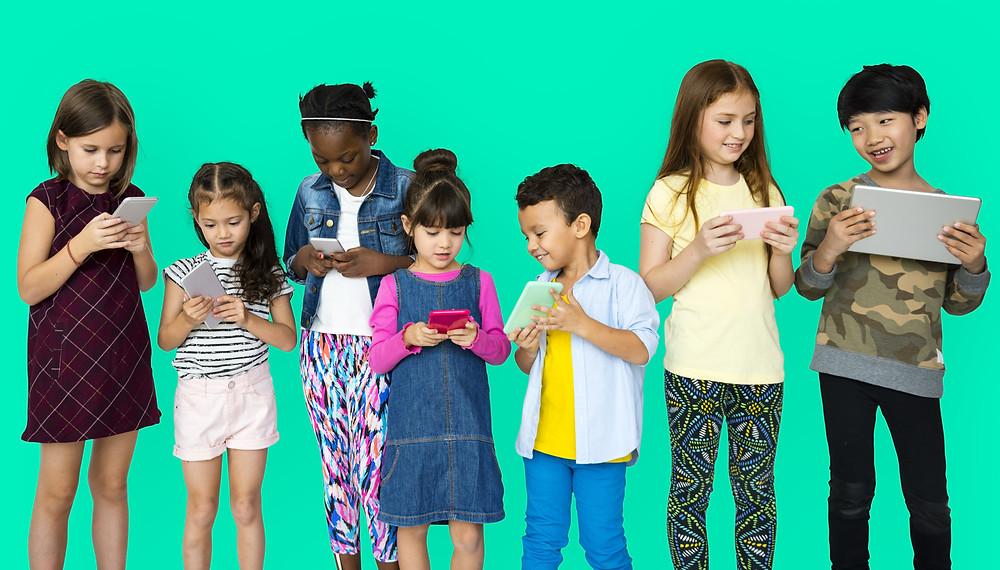 Children on their devices.
