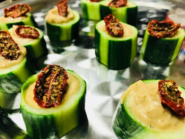 Cucumber Cups filled with Baba Ganoush