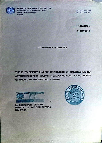Certificate from Ministery of Foreign Af