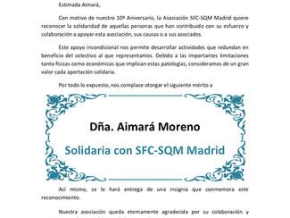 ¡Feliz 10º Aniversario, y mil gracias por permitirme estar ahí! Asociación SFC SQM de Madrid