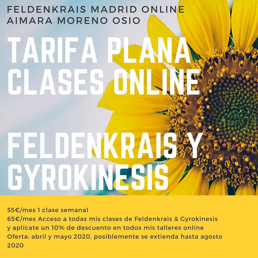 Precio tarifa plana clases de feldenkrais online con aimara moreno osio feldenkrais madrid Clases gyrokinesis en madrid y online