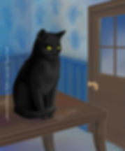 Rayne Hall - Black cat sitting on top of table illustration Art by Hanna-Riikka