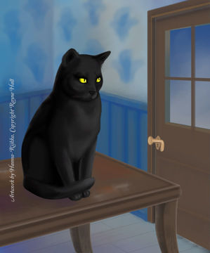 Rayne Hall - Black cat sitting on top of table illustration Art by Hanna-Riikka