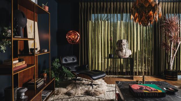 Night Palm Silver Lake Modern Residence Living Room
