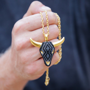 unique mens necklaces bull head pendant