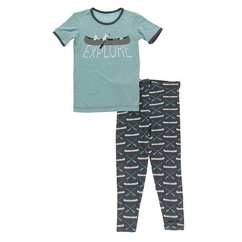 Graphic Tee Pajama Set Stone Paddles and Canoe