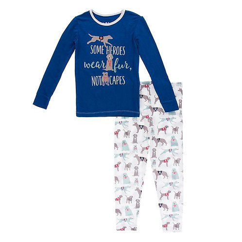 Long Sleeve Piece Print Pajama Set Natural Canine First Responders