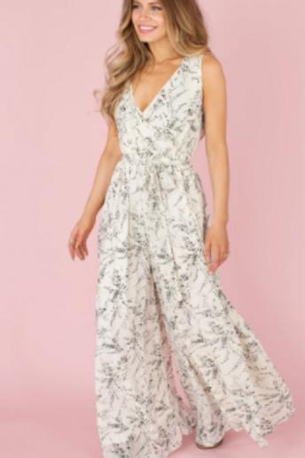 Joyfolie Grey Floral Jumpsuit