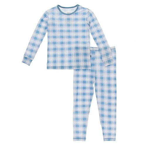 Print Long Sleeve Pajama Set Blue Moon Holiday Plaid