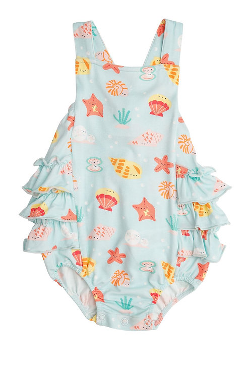 Angel Dear Happy Shells Ruffle Sunsuit Turquoise