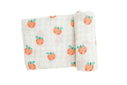 Angel Dear Plaid Peaches Swaddle Blanket